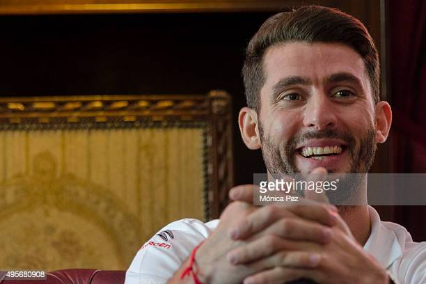 World Touring Car Championship driver champion Jose Maria Pechito López from Argentina smiles during an interview on November 04 2015 in Buenos Aires...