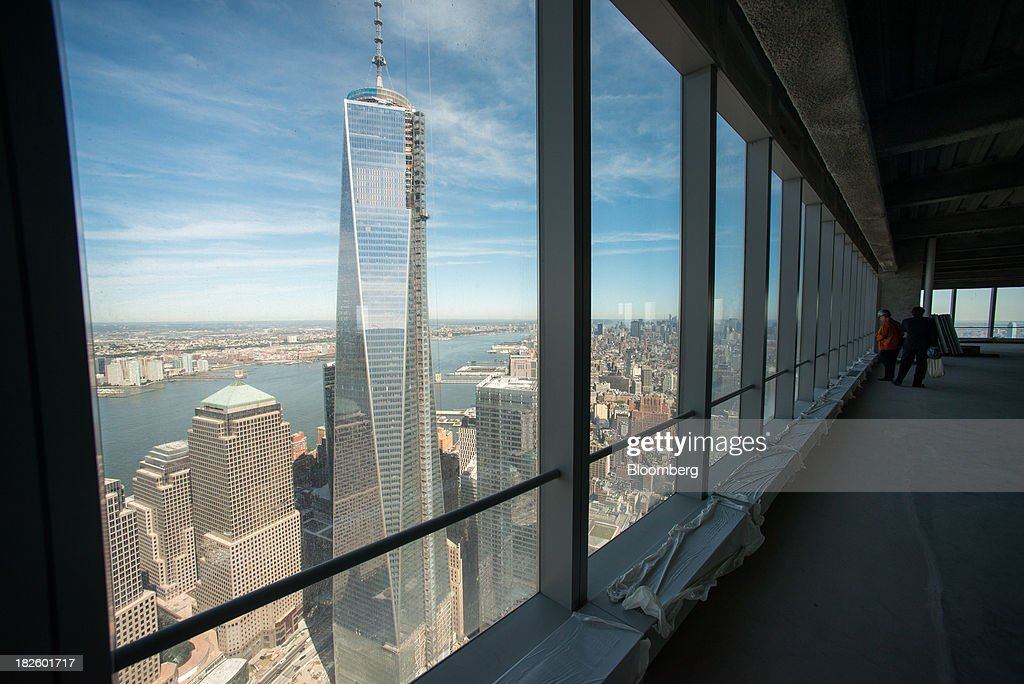 1 World Trade Center is seen from the 71st floor of the 4 World Trade Center building, managed by Silverstein Properties Inc., in New York, U.S., on Wednesday, Sept. 25, 2013. Real estate developer Larry Silverstein cant recoup any of the $1.2 billion recovered by World Trade Center insurers in settlements with airlines and airport security companies over the Sept. 11, 2001, terrorist attack that destroyed the office complex, a judge ruled. Photographer: Craig Warga/Bloomberg via Getty Images