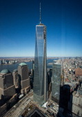 World Trade Center One is seen from the 68th Floor of Four World Trade Center after the opening ceremony for Four World Trade Center on November 13...