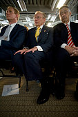 World Trade Center site developer Larry Silverstein and New York State Assembly Speaker Sheldon Silver listen to speakers discuss the design elements...