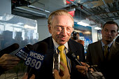 World Trade Center site developer Larry Silverstein speaks with reporters about the design elements of the Freedom Tower in his offices at 7 World...