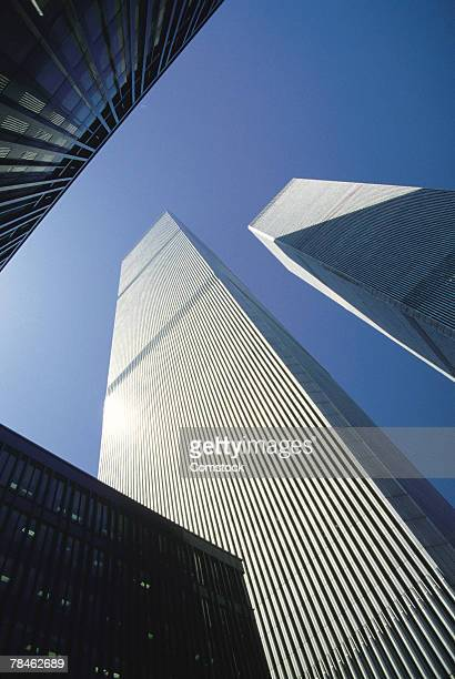 World Trade Center towering over city , Manhattan , New York