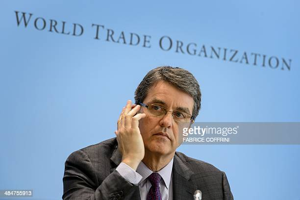 World Trade Organisation directorgeneral Brazil's Roberto Azevedo gestures during a press conference on 2014 global trade forecast on April 14 2014...