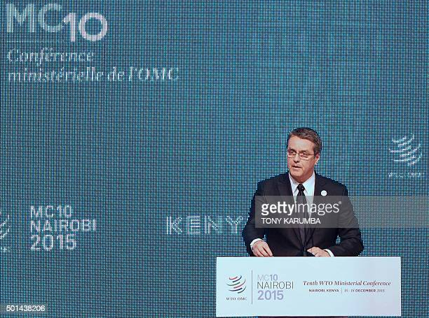 World Trade Organisation DirectorGeneral Roberto Azevedo addresses delegates on December 15 2015 at the official opening of the Tenth World Trade...