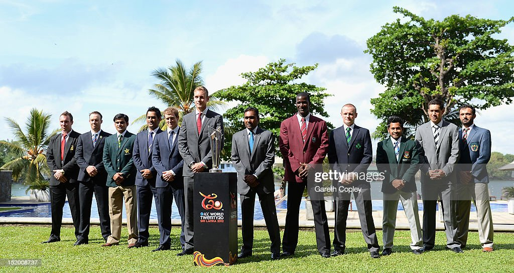 ICC World Twenty20 captains line up (L-R) Brendan Taylor, AB de Villiers, Mohammad Hafeez, MS Dhoni, George Bailey, Stuart Broad, Mahela Jayawardene, Darren Sammy, William Potterfield, Mushfiqur Rahim, Ross Taylor and Nawroz Mangal at photocall ahead of the ICC World Twenty20 on September 15, 2012 in Colombo, Sri Lanka.