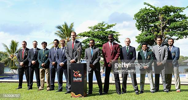 World Twenty20 captains line up Brendan Taylor AB de Villiers Mohammad Hafeez MS Dhoni George Bailey Stuart Broad Mahela Jayawardene Darren Sammy...