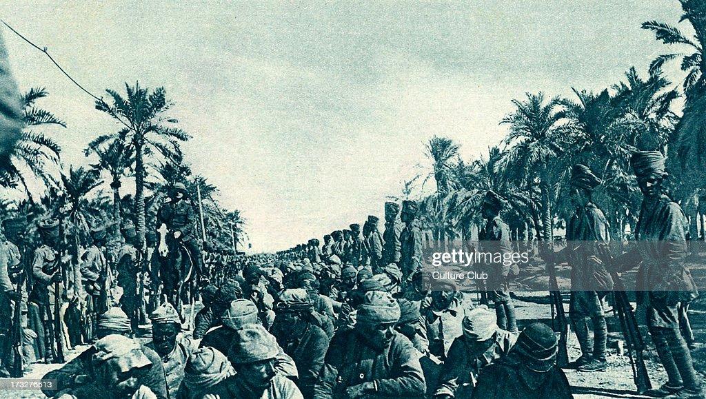 British Advance in Mesopotamia Turkish prisoners captured during progress of Kut Relief Force April 1916 Present day Iraq
