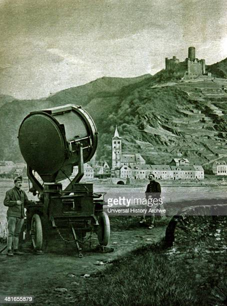 World War 1 France keeping nightwatch on the Rhine a giant searchlight stationed near St Goar a town on the west bank of the Middle Rhine Germany