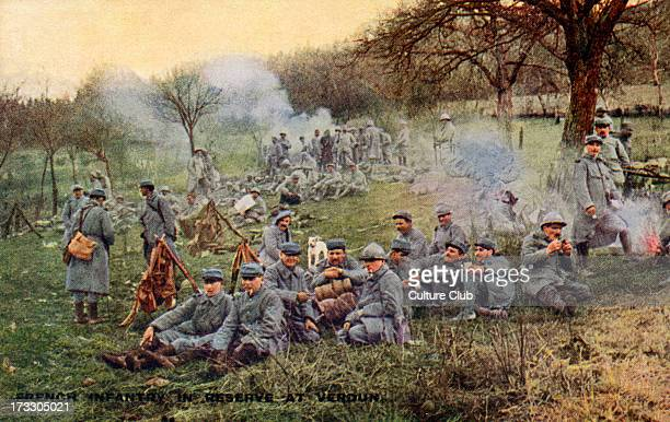 French army at the Battle of Verdun 21st of February – 18th of December 1916 Infantry soldiers in reserve after fighting English version of postcard...