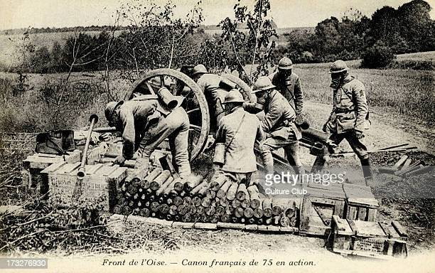 French canon at the Front in the Oise region France Canon de 75 modèle 1897 French artillery field gun Caption 'Front de l'Oise Canon français de 75...