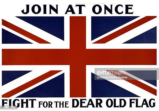 World War 1 Recruiting and enlistment poster Great Britain 19141918 'Join at once fight for the dear old flag' Photo by