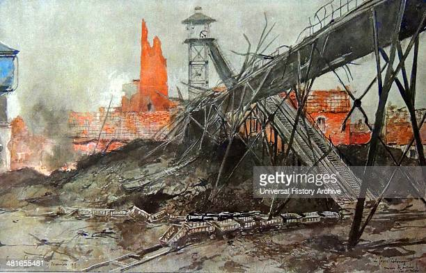 World War 1 Ruined bridges and rain cards at the bombed Lievin mine in the French province of Artois