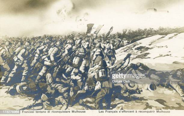 The French push to retake Mulhouse Possibly during Battle of Mulhouse during attempt to liberate Alsace Caption 'Les Français s'efforcent à...
