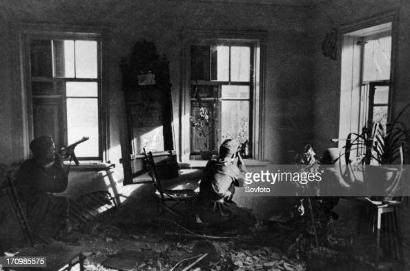 World war 2 battle of stalingrad soviet tommy gunners snipe at the enemy from an ambush in a house