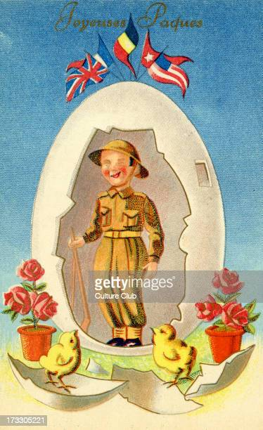 Happy Easter postcard Message in French 'Joyeuses Paques' At top flags representing Allied Forces France Belgium Belgium America and the Soviet Union