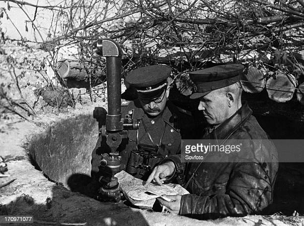 World war 2 marshal of the soviet union ivan konev commander of the troops of the first ukrainian front and marshal rotmistrov of the tank force at...