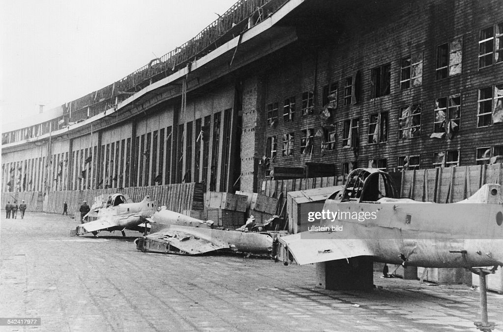 buildings and planes detroyed at the berlin tempelhof airport 1944 pictures getty images. Black Bedroom Furniture Sets. Home Design Ideas