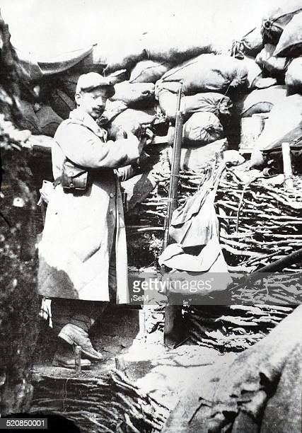 World War I 1914 1918 French soldier in the trenches armed with a rifle and bayonet