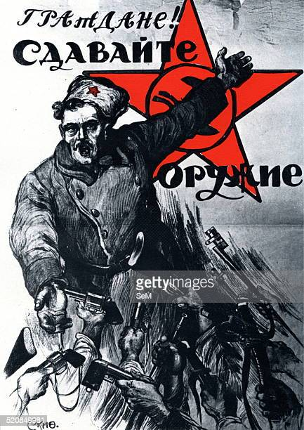 World War I 1914 1918 Russia 1915 Russia 1917 A bolshevic sodier in a propaganda poster Private collection
