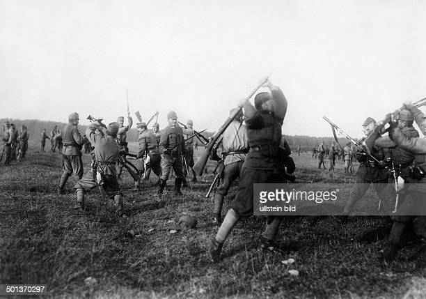 World War I Austria Hungary military training instruction of troups behind the front soldiers fencing with bayonets undated probably in 1915