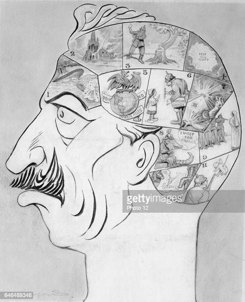 Phrenological map of the German Kaiser's brain 'Sinking 'Lusitania' Humanity Giving poisoned sweet to a child Generosity Shooting nurses Chivalry '