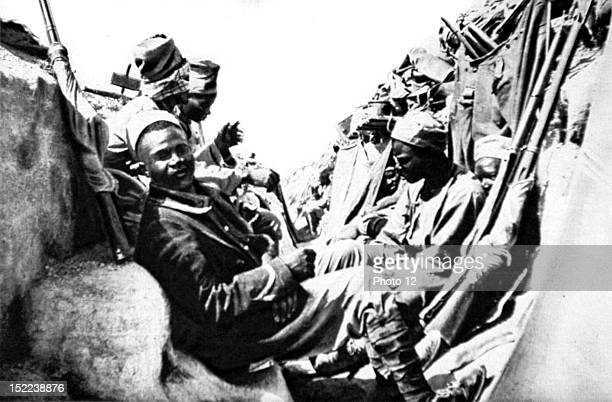 1915 World War I Dardanelles Campaign a forward trench with Senegalese infantrymen defending it
