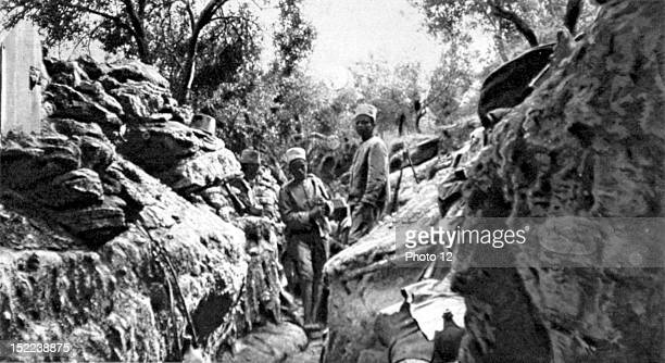 1915 World War I Dardanelles Campaign in the Gallipoli pensinsula a forward trench with Senegalese infantrymen defending it