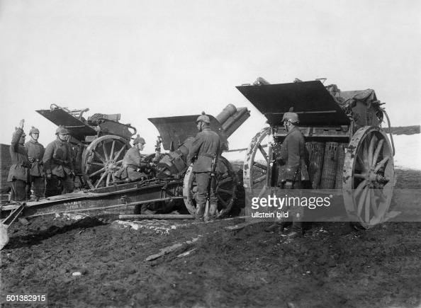German howitzer during combat on the Eastern theatre of war probably in summer 1915