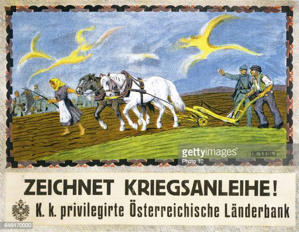 Farmer and his wife ploughing with two horses A soldier is speaking to the farmer Text 'Subscribe to the War Loan' Austrian poster