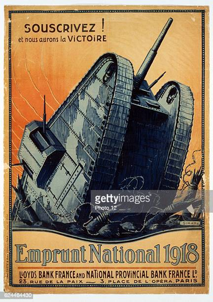 World War I French poster 'Subscribe And we shall have Victory' for the War Loan A tank crashes through barbed wire Chromolithograph