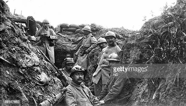 World War I French soldiers in a trench