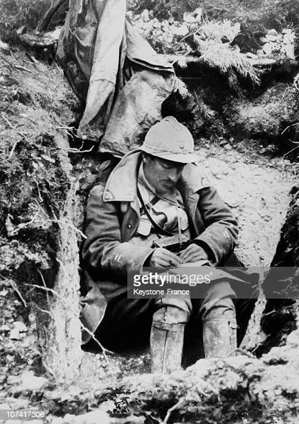 World War I Front Of Somme Soldier Writing A Letter To His Family