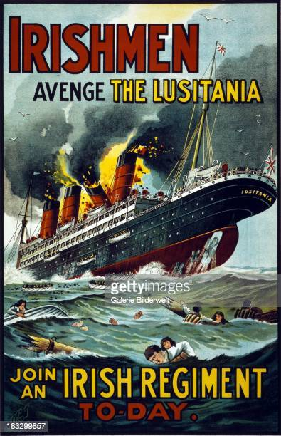 World War I Irish propaganda poster showing the Lusitania in flames and sinking with people in the water and lifeboats in the foreground Original...