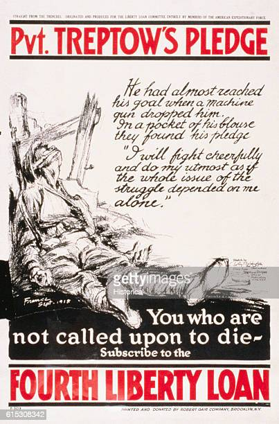 World War I poster depicts dead soldier leaning against a fence His pledge 'I will fight cheerfully and do my utmost as if the whole issue of the...