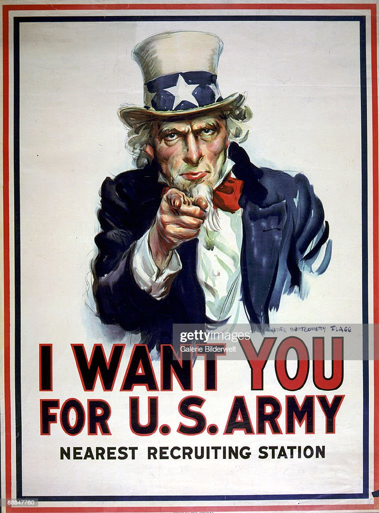 A World War I recruitment poster for the US Army reading 'I want you for US Army nearest recruiting station' 1917 Artwork by James Montgomery Flagg