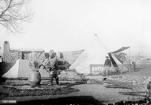World War I Salonika Front Tent and garden with a Greek vase Post of Dogandzi Salonika 1916