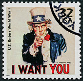 Cancelled Stamp From The United States Featuring Uncle Sam During World War I.