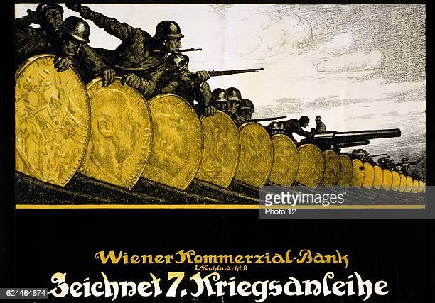 Subscribe to the 7th War Loan Vienna Commercial Bank Austrian poster shows soldiers and their weapons behind a barricade of gold Lithograph