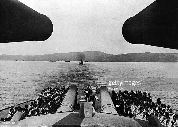 World War I The Dardanelles Powerful view between two huge gun turrets of a Church service on board HMS Queen Elizabeth