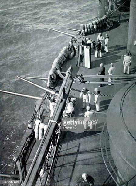 1915 World War I The FrancoEnglish squadron in the Dardanelles the bridge of the French battleship 'Charlemagne' during the bombardment of the forts