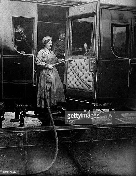 World War I Women at work cleaning railway cars France