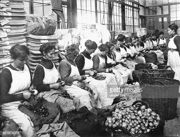 women peeling onions in a canning factory that supplies the German army undated