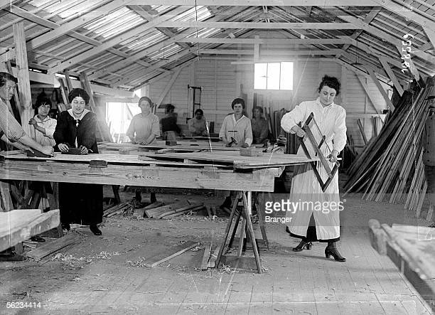 World War I Women working in a joiner's workshop France