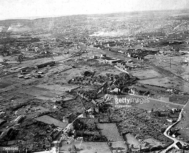 World War II 13th October 1944 Aerial view of Aachen Germany after an allied bombing raid during the second World War