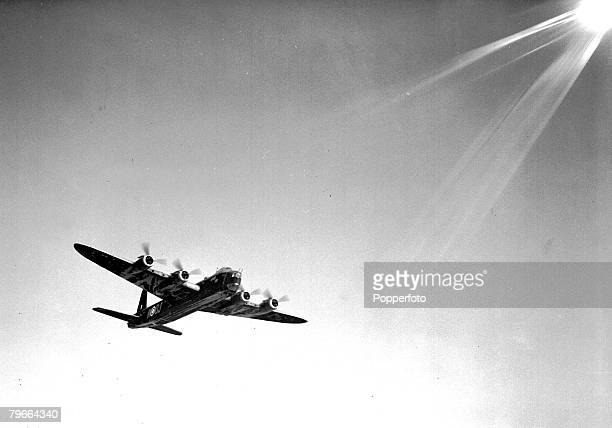 World War II 16th January 1942 One of the giant Stirling bombers taking off for the attack at Bremen Emden and Hamburg in Germany