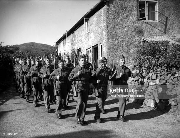 World War II 19th August 1940 Guernsey Channel Islands Young men from Guernsey the second largest of the Channel Islands now attached to a British...