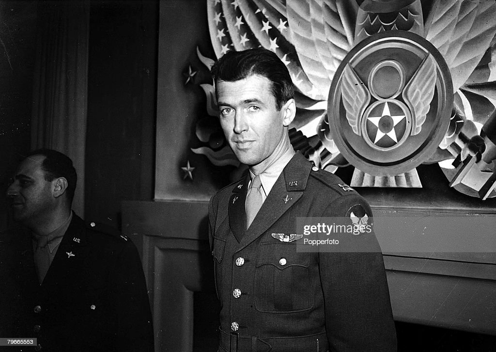 World War II, 2nd December 1943, London, England, US film star James Stewart, an American army Captain, is pictured in front of an 8th Air Force insignia at a Press Conference