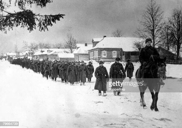 World War II 2nd January 1942 Moscow Russia Troops of the Red Army in the northern sector of the front Under the command of Captain Maslov they are...