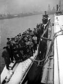World War II 31st January 1945 England The crew of the Submarine 'Tally Ho' display their Jolly Roger flag recording their enemy 'Kills' pictured...