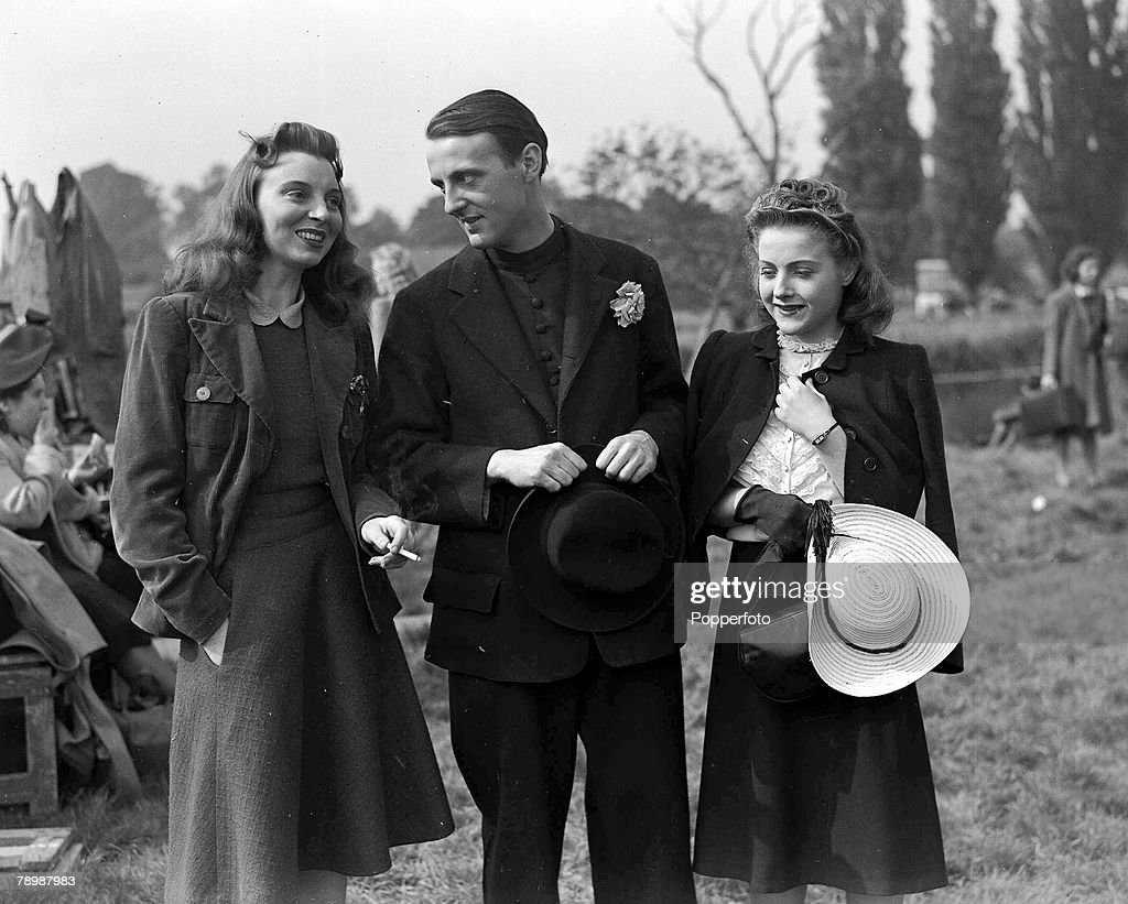 World War II, 1941, A scene from the film -One of our aircraft is missing+ L-R; Actors Pamela Brown, Joyce Redman, Hugh Borden